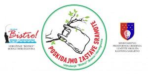 """Logo akcije Udruženja """"Bistro!"""" čišćenja vodotokova i inicijative za potpunim ukidanjem korištenja plastičnih kesa u Bosni i Hercegovini."""